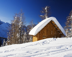 Hut with Snow Color (mercolino) Tags: christmas italy snow pine navidad italia december nieve confine hut neve monte natale dicembre fvg diciembre borderline friuli udine fv tarvisio montelussari camporosso lussari