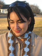 crochet brown & blue scarf