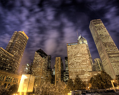 Cyber (Cycle the Ghost Round) Tags: city blue winter urban usa white snow night clouds skyscraper buildings illinois purple loop unitedstatesofamerica tan milleniumpark hdr prudentialbuilding aoncenter stonecontainerbuilding standardoilbuilding 3xp canoneos5d photomatix