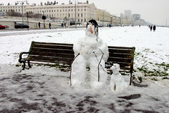 snowman general with dog (Veronika Moore) Tags: winter snow snowman brighton hove snowmen seafront 2009 invasion