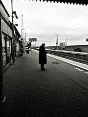 Waiting 4 transport (Sator Arepo) Tags: blackandwhite bw howth dublin station train vanishingpoint reflex waiting transport platform olympus passenger zuiko transporter e330 uro 714mm