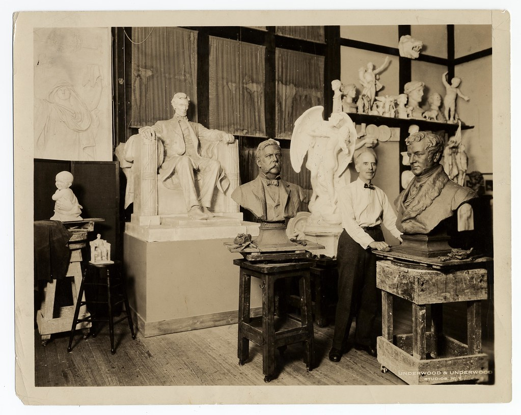Daniel Chester French, foremost American sculptor, in his studio at Stockbridge, Mass. Photo from the Smithsonian Archive on the Flickr Commons. Click image to view source.