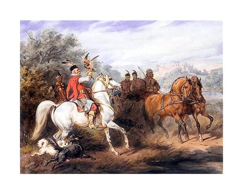 017-Partida de cetreria 1868-acuarela-Juliusz Kossak