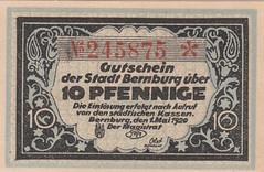 Bernburg, 10 pf, 1920 (Iliazd) Tags: germany inflation notgeld papermoney 1stworldwar inflationary germancurrency emergencymoney 19171923 germanpapermoney