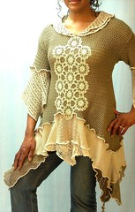 Taupe and Tan Crochet Linen Tunic (brendaabdullah) Tags: fashion women colorful designer recycled handmade crochet knit funky indie sustainable tunic pieced brendaabdullah ecoconsious