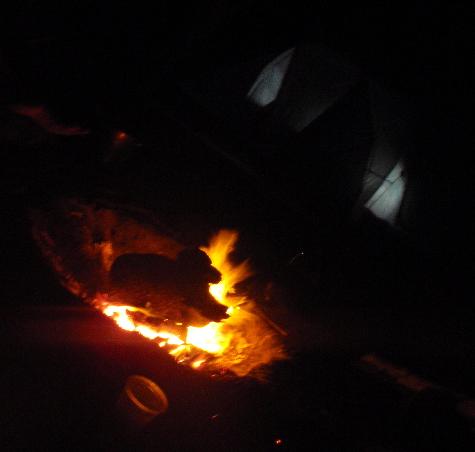 Fire + tent