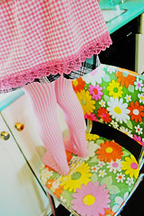 Washing the dishes afterwards (boopsie.daisy) Tags: pink flowers orange cute kitchen floral yellow 60s legs sweet daughter sadie tights apron gingham 70s
