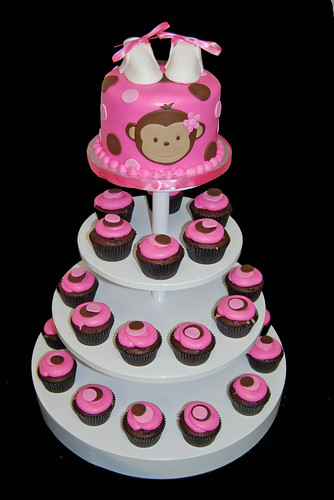pink and brown monkey baby shower cupcake tower