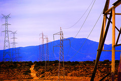 electric blue (Georgie Sharp) Tags: blue electric electricity outback pylons onthemove