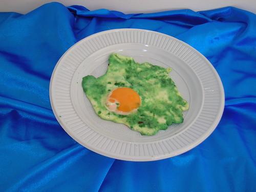 Huevo frito verde