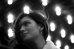 starry night (Celeste) Tags: portrait bw girl beautiful smile night pretty lightbulbs linda celesteromero