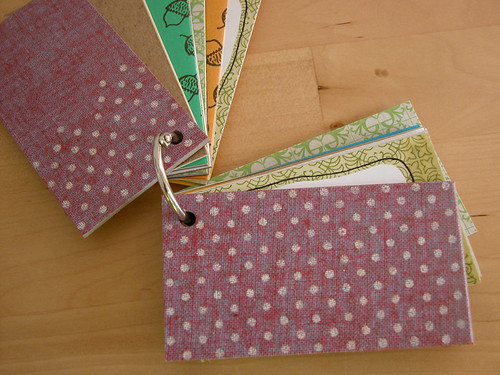 Itty Bitty Recycle Bin Book - White polka dots on purple
