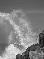 Nature's Power (peteypatriot (Busy! Busy!)) Tags: ocean california blackandwhite wave photoshopelements crashingwave