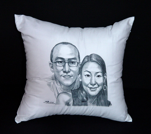 Couple portraits in pencil printed on cushion