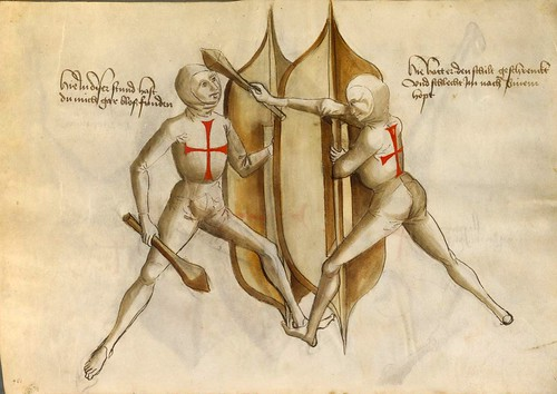 05-Lucha sin armadura con escudo y maza segun el modo Franco 54v