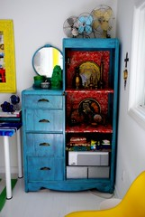 art deco armoire - totally revamped (kimhaseightcats) Tags: white art yellow vintage wrapping paper office paint turquoise teal dry brush thrift deco shelves decoupage armoire redo