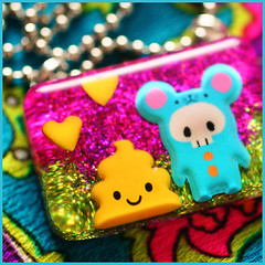 Oops I Pooped! (stOOpidgErL) Tags: cute green love yellow glitter happy diy necklace purple heart handmade craft jewelry plastic crap poop shit kawaii resin pendant terd stoopidgerl poopreport puffysticker