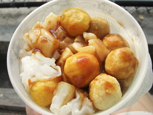 cheung fun & fish balls from the Grand St cart