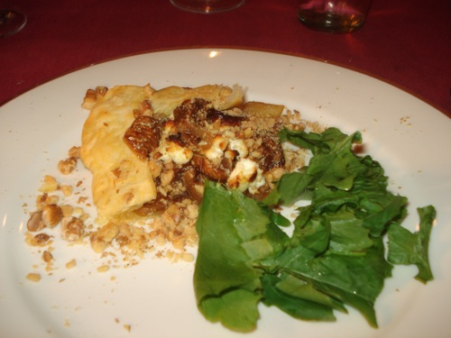 Caramelised onion, walnut, and goat's cheese tart
