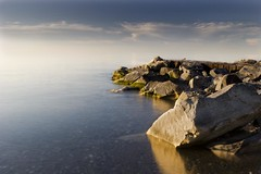 A Very Calm Lake Ontario (William Self) Tags: morning lake toronto ontario beach water shoreline rocky shore lakeontario hdr cbcradio3 thebeaches