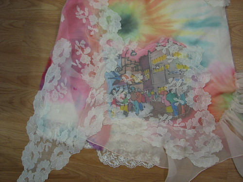 with batik scarf, lace and tie dyed chiffon