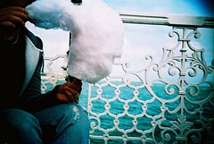 Candy Floss (edscoble) Tags: camera sea white film beach metal 1 pier yummy lomo lca xpro lomography xprocess marine brighton dof candy eating crossprocess hove ct slide palace sugar cotton soviet 100 agfa russian e6 vignette leonie compact automat floss 128 32mm precisa kompakt minitar cicirello