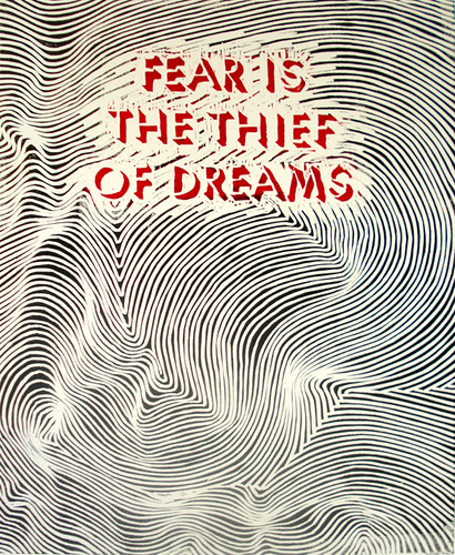 """Fear is the Thief of Dreams"". one of my favorite sayings, i heard before i"