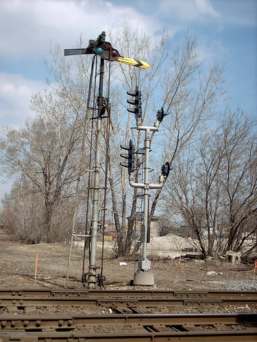 The old free standing steam era semaphore signals that used to operate at Brighton Junction. Chicago Illinois. April 2007.