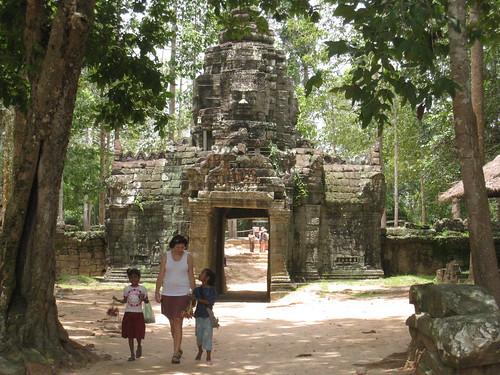 Exiting a smaller temple