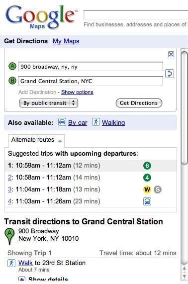 Tránsito de Google Maps NYC