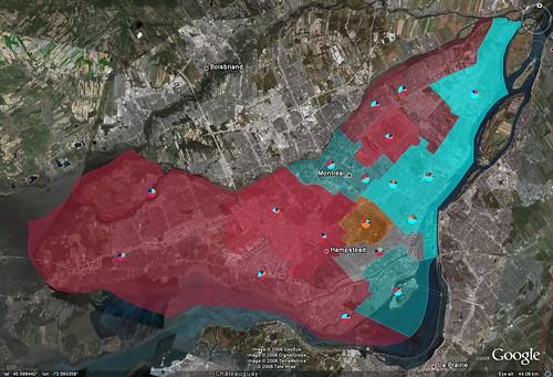 Île de Montréal / Élections fédérales canadiennes 2008 sur Google Earth