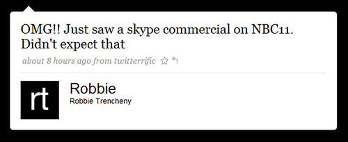 omg!! just saw a skype commercial by you.