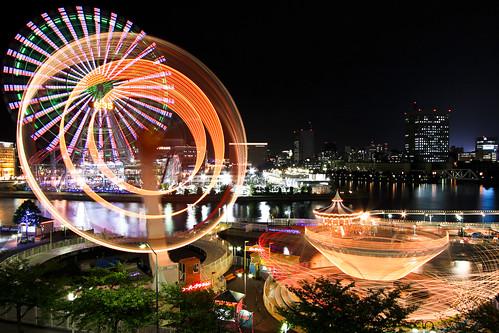 遊園地(夜)|無料写真素材
