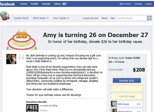 Happy Birthday Amy Sample Ward! Facebook Causes Lets Donors Opt In