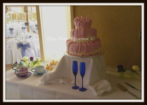 The cake table was set up with some other Alice related props to carry out