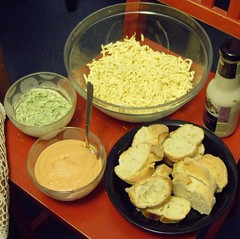 Raclette Table (Food Pon) Tags: food cheese vegan essen margarine baguette soy herb raclette garlicsauce cocktailsauce knoblauchsauce sojakäse kräutermargarine