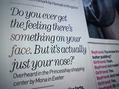 Men Overheard, courtesy of More Magazine (Lorna Hosie Mosie) Tags: news mobile photoshop work magazine photography reading funny phone sonyericsson text humor bored cell humour read page type layers loch lomond vignette phonephoto newsagents cellphonephotography papershop mobilephotography moremagazine c902 menoverheard
