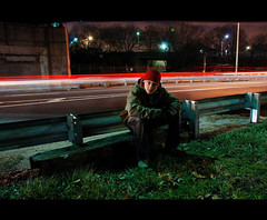 Pavel. (Vitaliy P.) Tags: winter light cold green cars grass hat brooklyn moving still nikon long exposure sitting queens expressway bqe pavel d80 vitaliyp