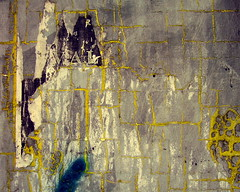 VAL (Scribbles With Cameras) Tags: urban abstract pasteup yellow concrete shade cracks adhesive tone remnants