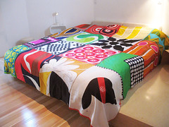 Vintage Scarf Bedspread by Ouno Design (ouno design) Tags: abstract geometric modern scarf vintage mod quilt stripes silk beaver blanket 1960s 1970s patchwork throw bedspread hemp christiandior ticking reversible bedcover amik veraneumann montrealolympics