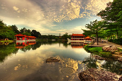 Chinese Garden (J.^2) Tags: red cloud lake reflection rock canon singapore ripple chinesegarden j2 hdr pavillion jiangjiang 3xp 50d jsquare