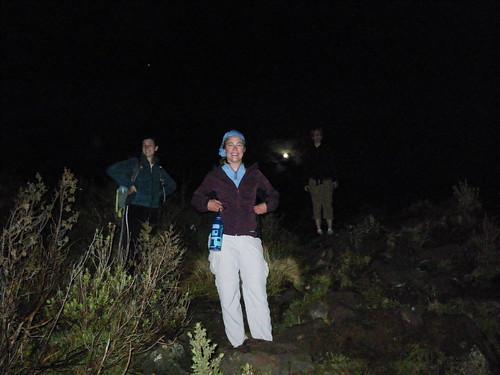 climbing a volcano at night