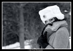 against the wind (Mike Wood Photography) Tags: winter bw snow fur outside eos eyes wind piercing arr collar jaclyn allrightsreserved londonontario har ussr hammerandsickle upturned mikewood backintheussr 400d mwpfash mikewoodphotographycom ©mikewoodphotography battlingbeatleslyrics