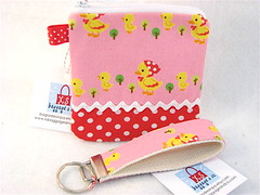 Zip Pouch and Key Fob in Little Ducks (xsbaggageandco) Tags: easter duck keychain handmade pouch etsy polkadot ricrac babyduck
