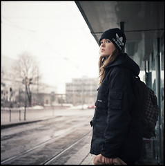 tytt sporapyskin - girl at the tram stop (sikaheimo) Tags: street portrait film girl finland helsinki d tram stranger stop unknown medium format adidas yashica tramstop yashicad