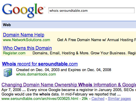 Whois Info on Google