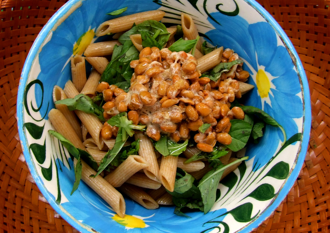 natto with basil & penne