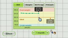 Wii Fit fitness tracking chart! (beastandbean) Tags: yoga digital fun exercise action nintendo games videogames sweat tightrope workout weightloss weight balanceboard aerobics mii bmi wii wiiremote bodymassindex wiifit wiijogging wiiyoga balancegames wiifitage