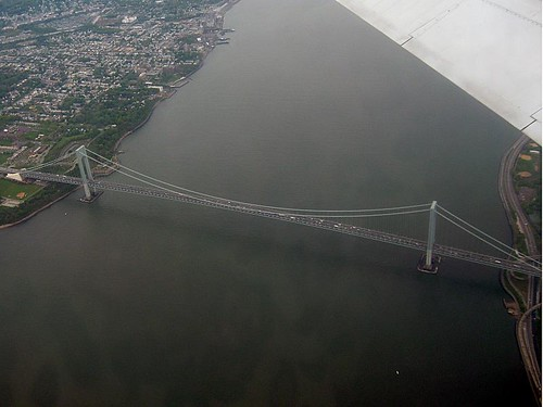 Aerial view of the Verrazano-Narrows Bridge - Bay Ridge, Brooklyn