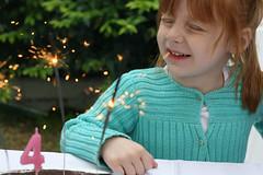 birthday girl (christina douzmanian) Tags: birthday family party food paris france cake garden 50mm candles 4 bbq sparklers redhead littlegirl 50mmf18 canon30d littlecousin